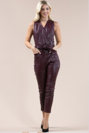Olivaceous  Belted Faux Leather Jumpsuit - Front cropped
