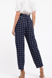 blu pepper  Belted Grid Print Pants - Front full body