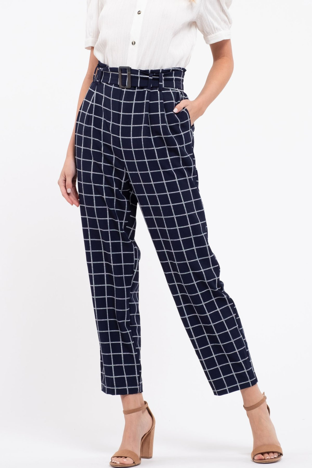 blu pepper  Belted Grid Print Pants - Front Cropped Image