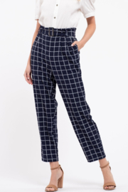 blu pepper  Belted Grid Print Pants - Front cropped
