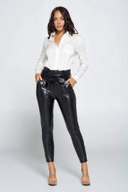 chocolate usa Belted Highwaisted Pleather Pants - Front cropped