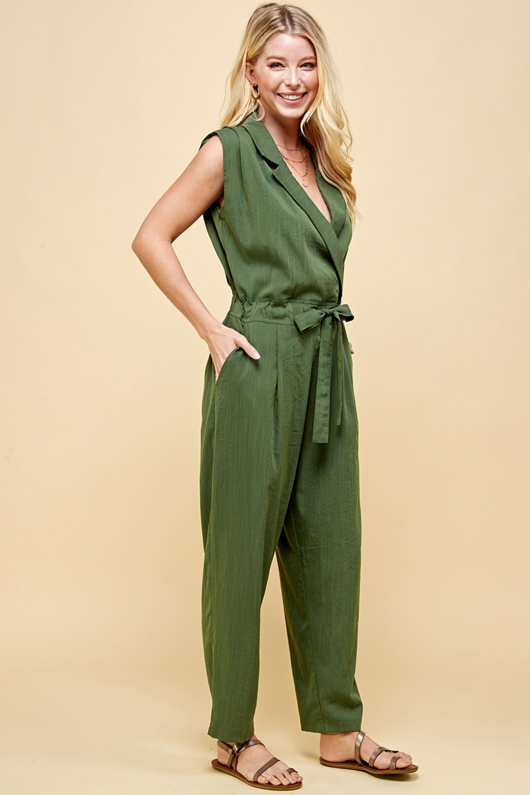 Pinch BELTED JUMPSUIT - Front Full Image