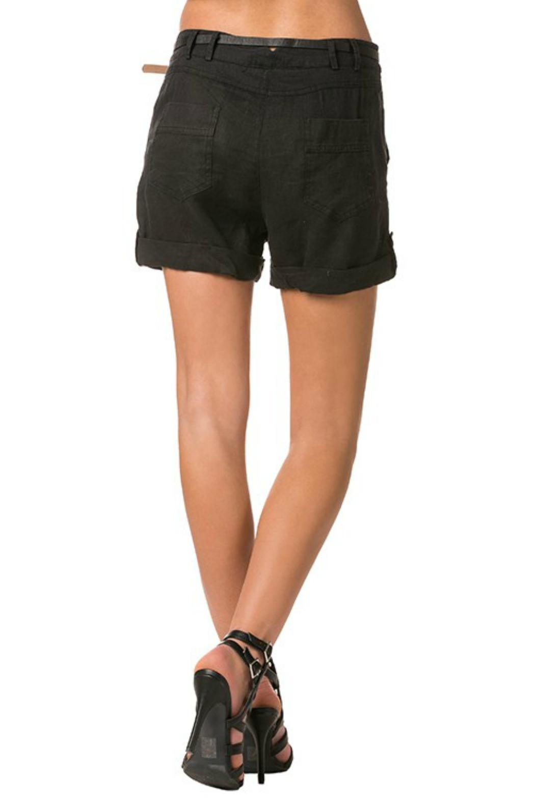Milla Belted Linen Shorts - Front Full Image