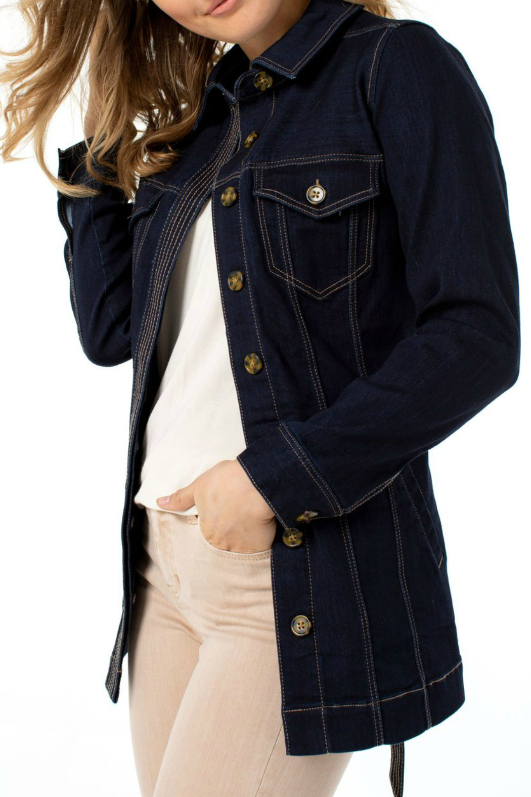 Liverpool  BELTED LONG JACKET SILKY SOFT - Front Full Image