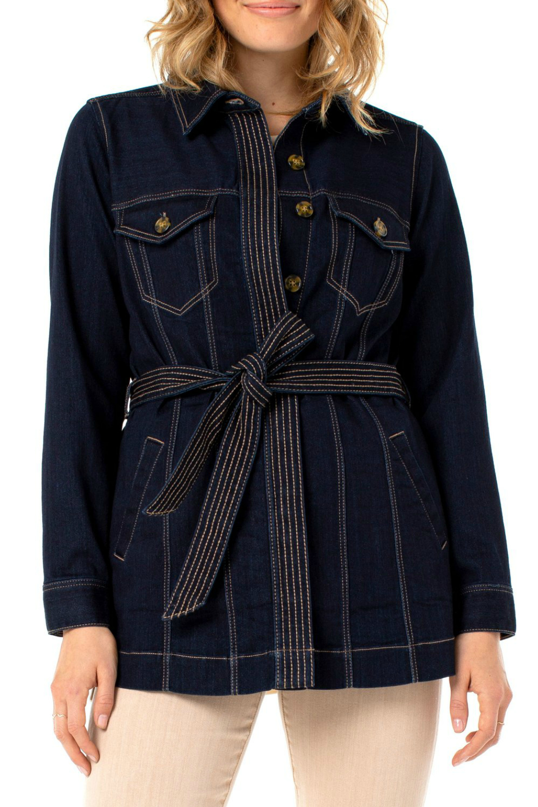 Liverpool  BELTED LONG JACKET SILKY SOFT - Main Image