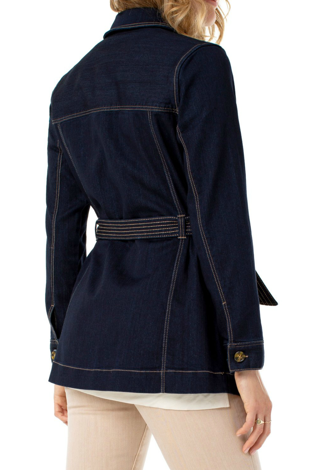 Liverpool  BELTED LONG JACKET SILKY SOFT - Side Cropped Image