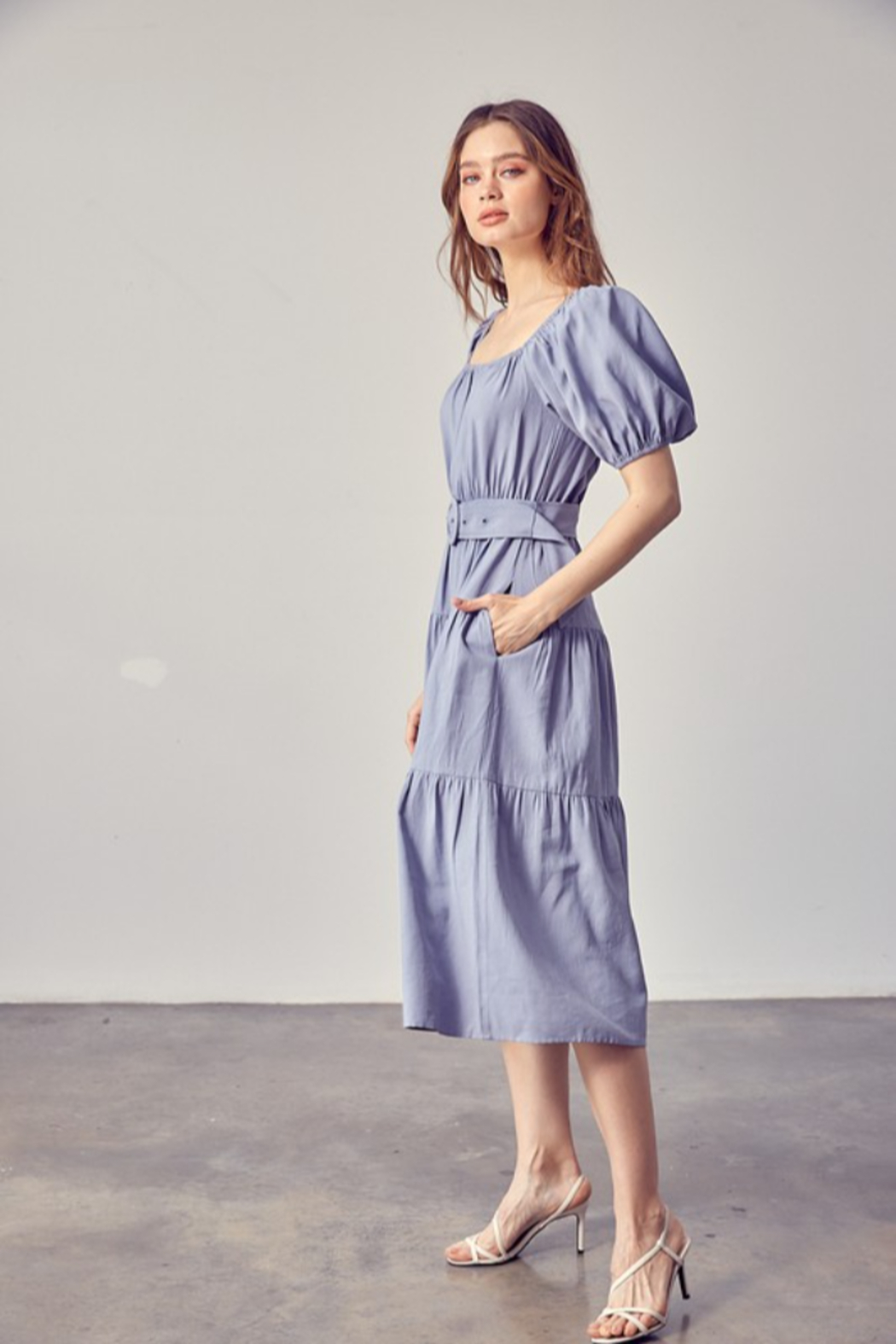 Idem Ditto  Belted Midi Dress - Front Full Image