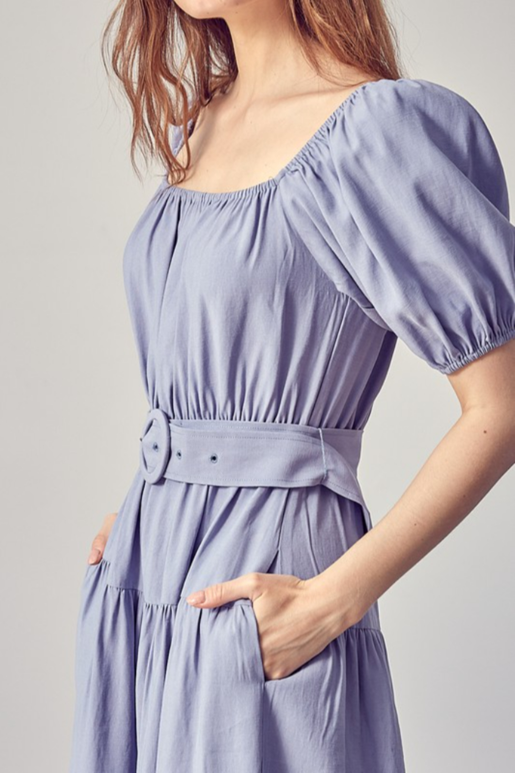 Idem Ditto  Belted Midi Dress - Back Cropped Image