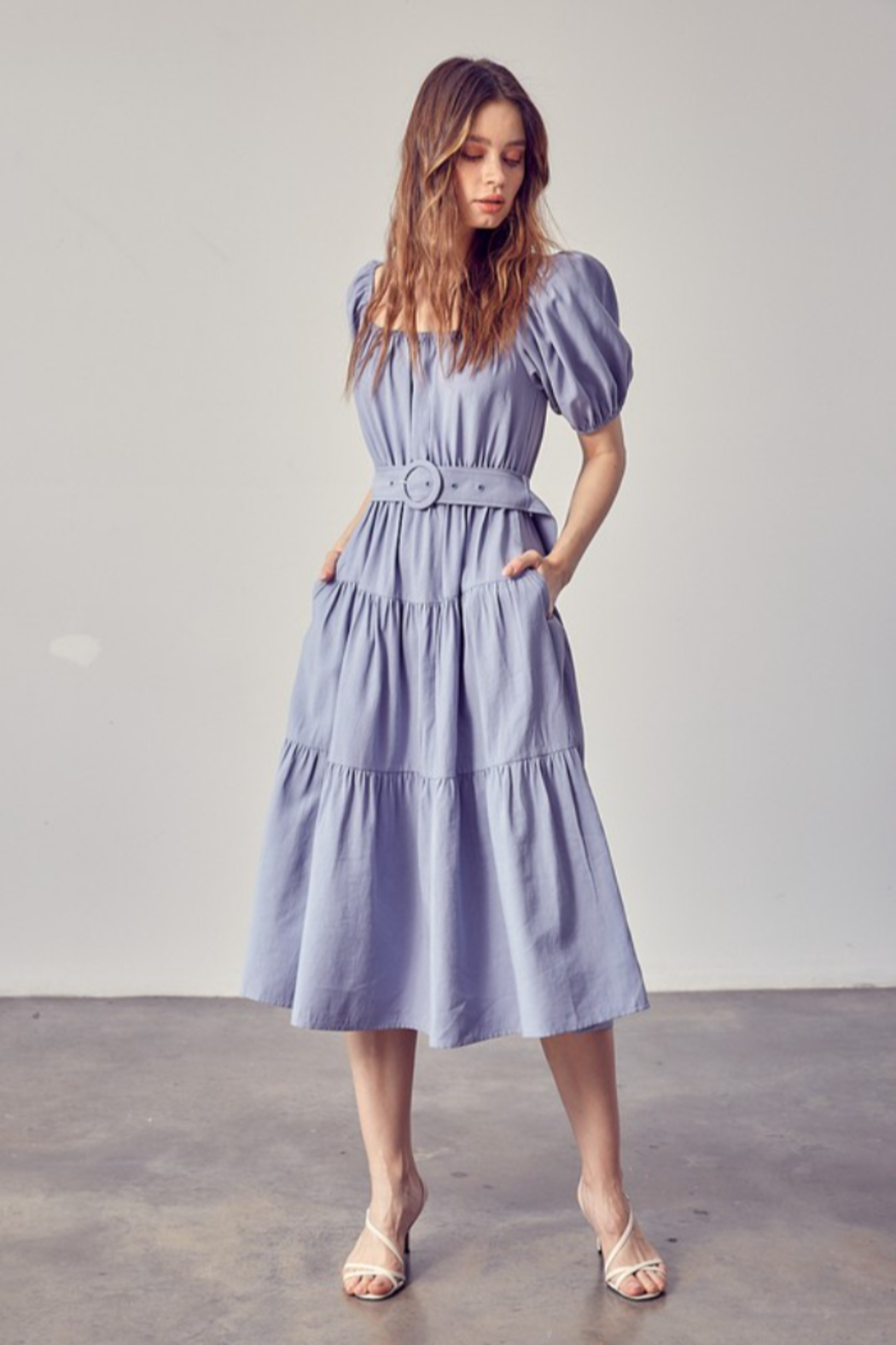 Idem Ditto  Belted Midi Dress - Front Cropped Image