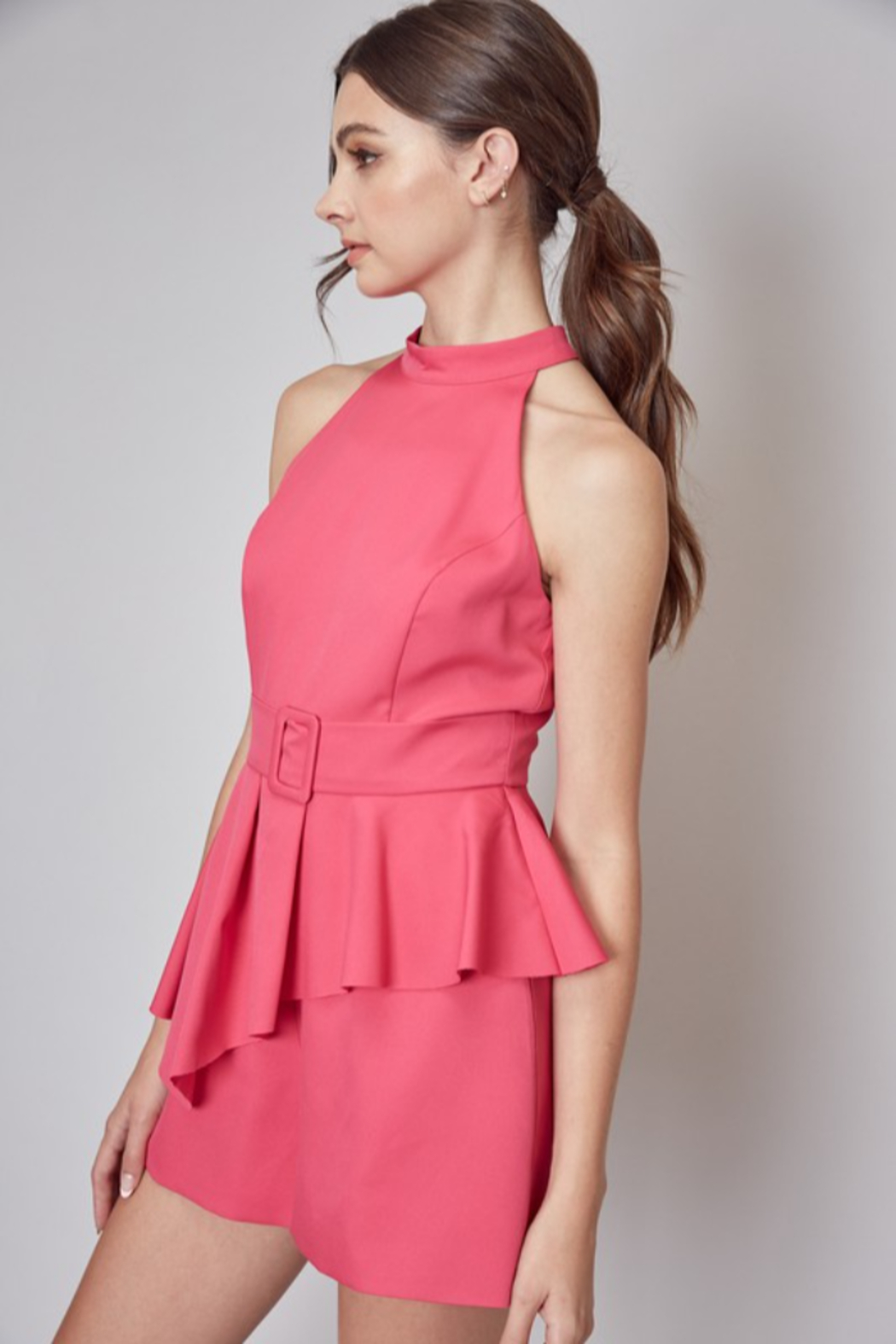 Do + Be  Belted Peplum Romper - Front Full Image