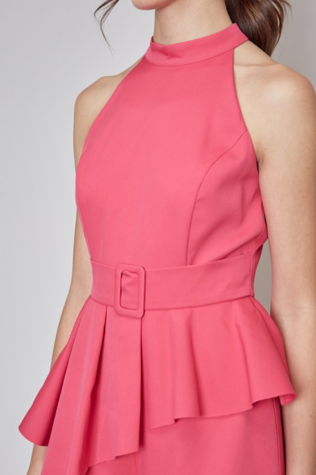 Do + Be  Belted Peplum Romper - Back Cropped Image