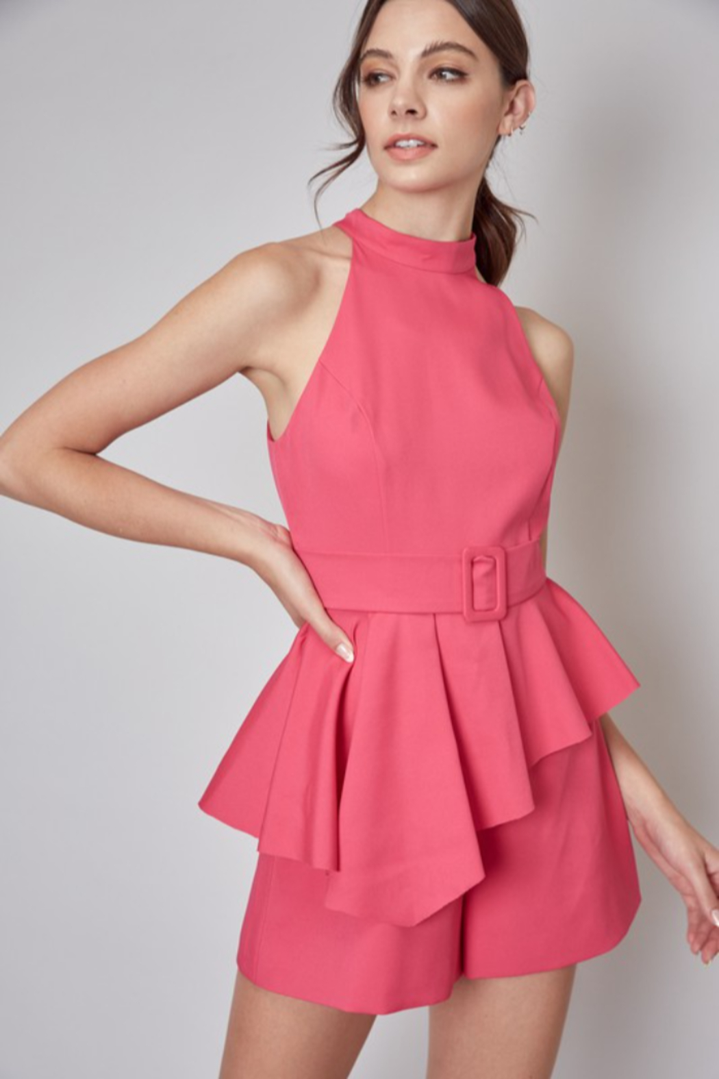 Do + Be  Belted Peplum Romper - Front Cropped Image