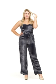 Papillon Belted Pinstripe Jumpsuit - Product Mini Image
