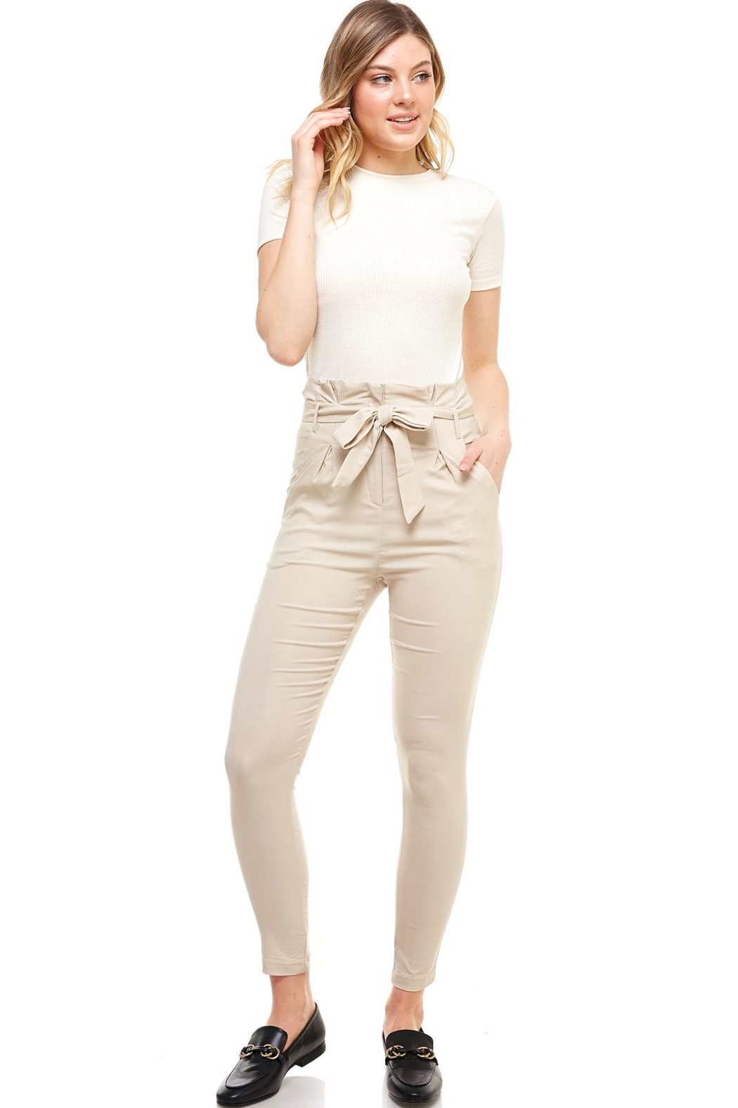 Better Be Belted Skinny Pants - Front Full Image