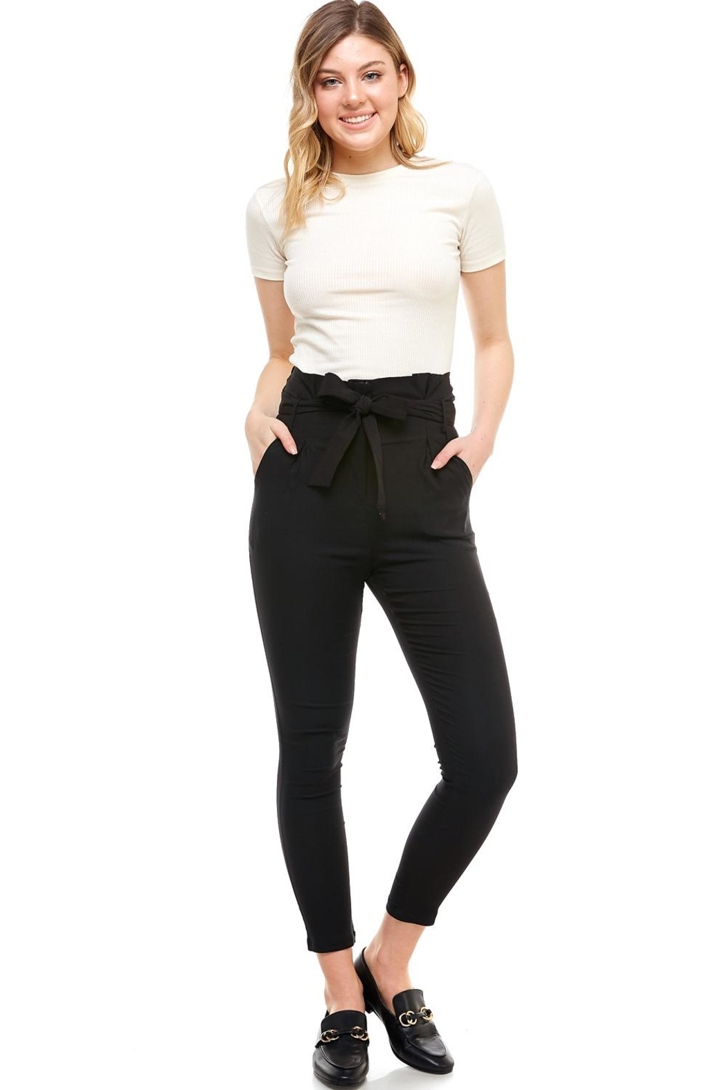 Better Be Belted Skinny Pants - Front Cropped Image