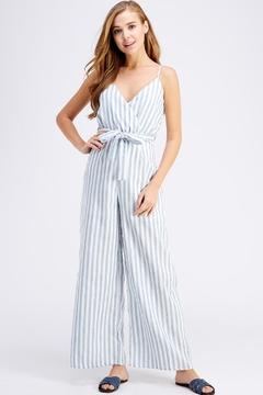 Shoptiques Product: Belted Stripe Jumpsuit