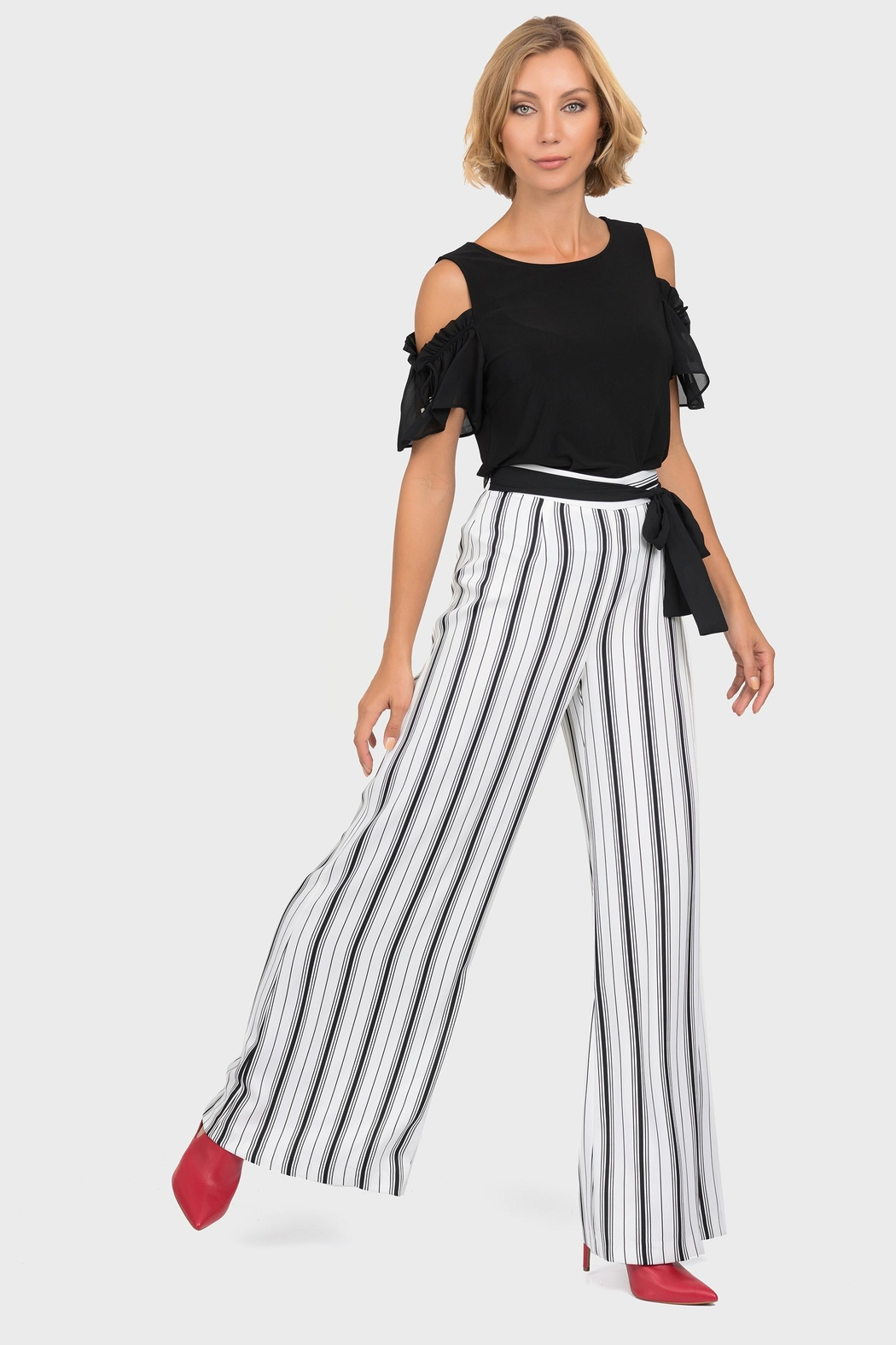 Joseph Ribkoff Belted Wide-Leg Pant - Back Cropped Image