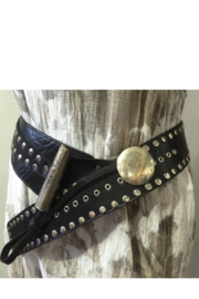 DiJore Belts-Leather Wide Width with Nail Head Design - Product Mini Image