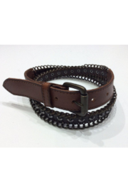 DiJore Belts-Medium Width Brown Leather Belt with Metal Link Embellishment - Product Mini Image