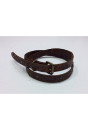 DiJore Belts-Medium Width Distressed Brown Leather Belt with Black and Clear Crystals and Rubbed Bronze Embellishments - Product Mini Image