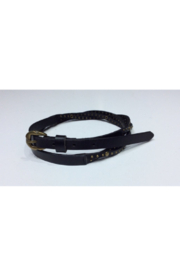 DiJore Belts-Narrow Width Black Leather Belt Braided with Bronze Embellishments - Product Mini Image