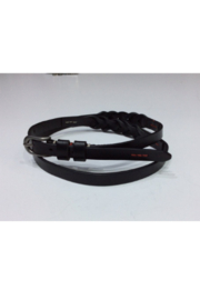 DiJore Belts-Narrow Width Black Leather Belt with a Bit of Braid - Product Mini Image