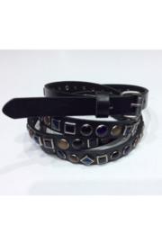 DiJore Belts-Narrow Width Double Wrap Leather Embellished with Colored Stones in Geometric Shapes - Product Mini Image