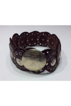 DiJore Belts-Wide Brown Leather Belt Formed by Concentric Circles with Engraved Silver Overlay, 2 1/2