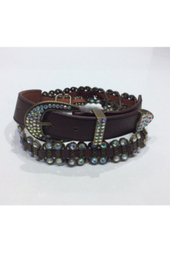 DiJore Belts-Wide Brown Leather with Crystal and Bronze Embellishments - Alternate List Image