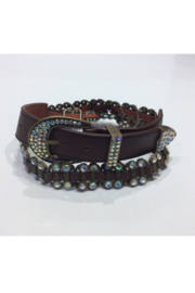 DiJore Belts-Wide Brown Leather with Crystal and Bronze Embellishments - Product Mini Image
