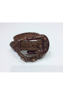 DiJore Belts-Wide Copper Leather Tooled Belt with Geometric Crystal Embellishment - Alternate List Image