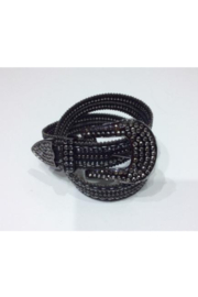 DiJore Belts-Wide Leather Belt with Crystal, Bead and Stud Embellishment - Product Mini Image