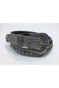 DiJore Belts-Wide Silver Leather with Silver Bead, Stud and Crystal Embellishment - Alternate List Image
