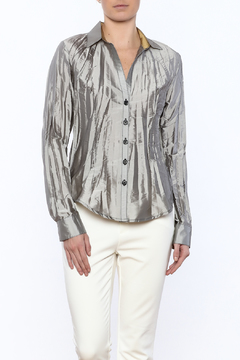Shoptiques Product: Silver Crinkle Buttoned Shirt