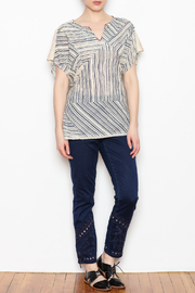 Benares Contrast Stitched Top - Front full body