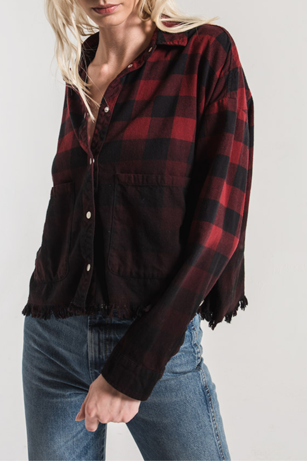White Crow Benson Flannel Crop Top/Jacket - Front Full Image