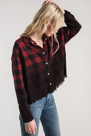 White Crow Benson Flannel Crop Top/Jacket - Front cropped