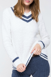 POL Berber Fleece Varsity Sweater Top - Front cropped