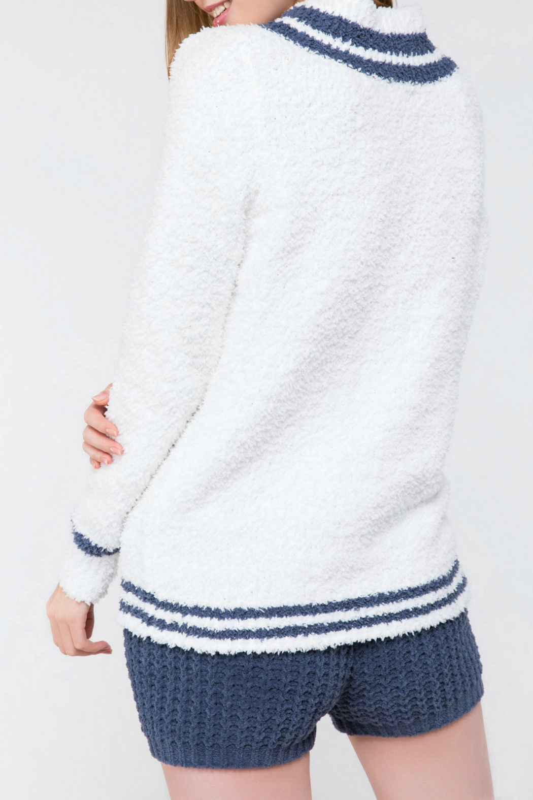 POL Berber Fleece Varsity Sweater Top - Side Cropped Image