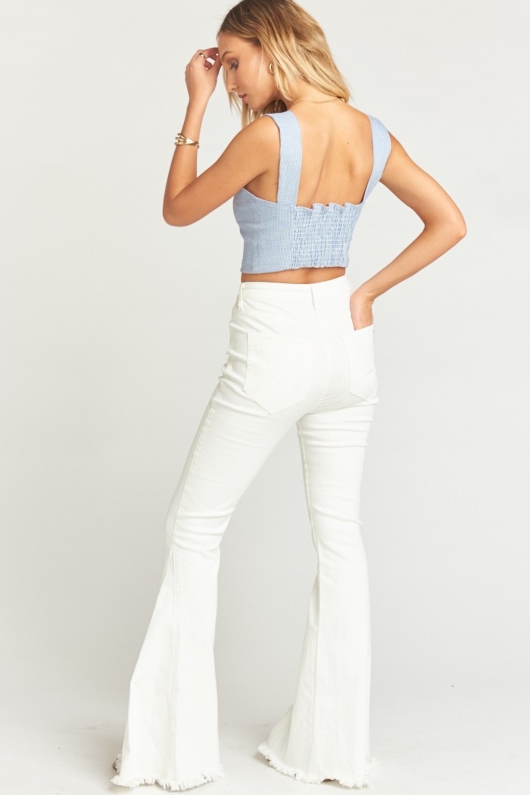 Show Me Your Mumu Berkeley Zip Up Bells Pearly White - Side Cropped Image
