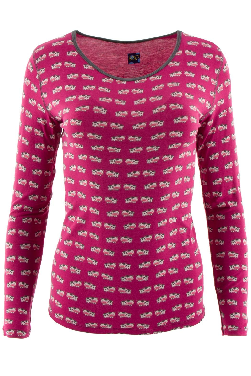 Kickee Pants Berry-Cow Loosey-Goosey Tee - Front Full Image