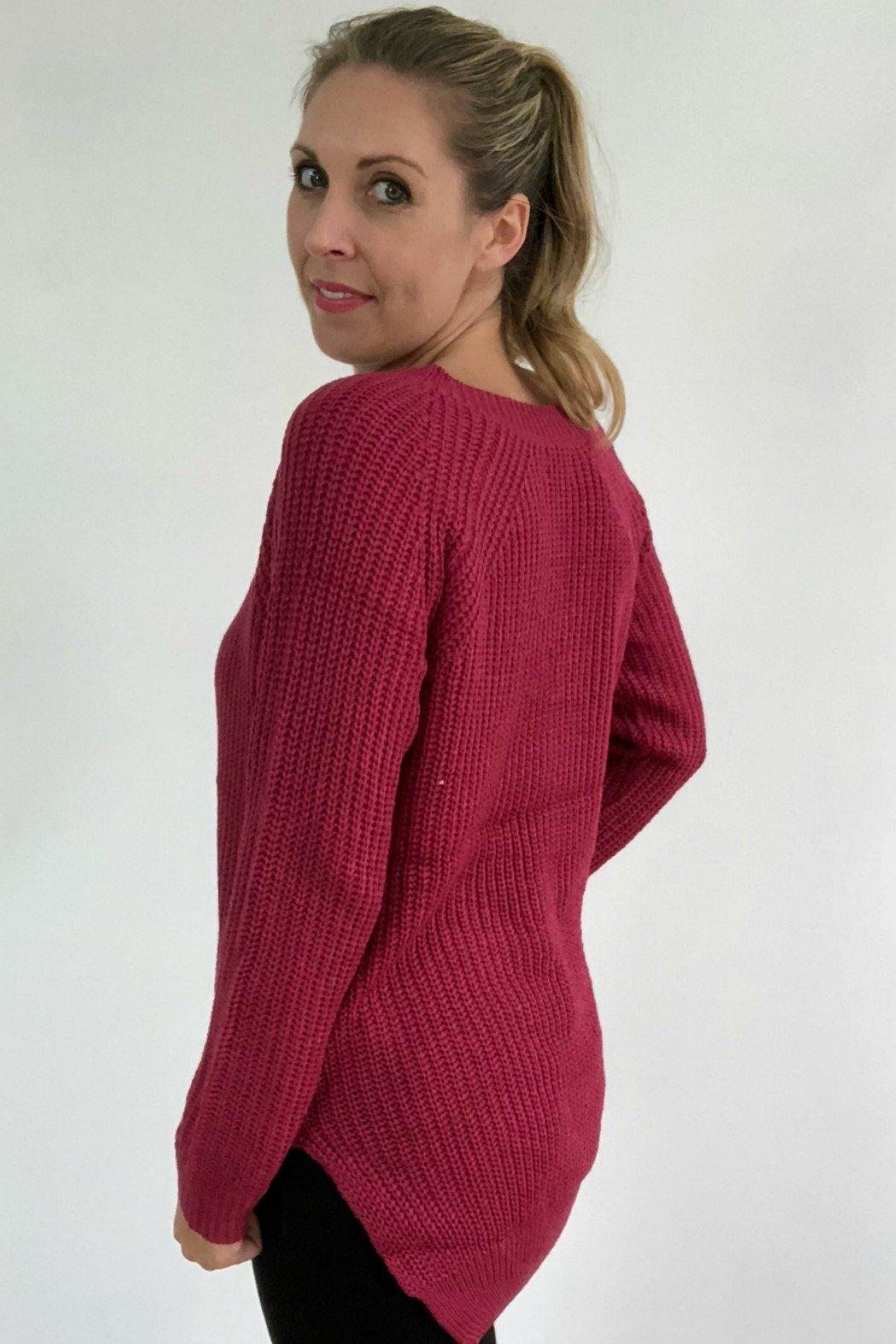 Dreamers Berry Knit Pullover - Side Cropped Image