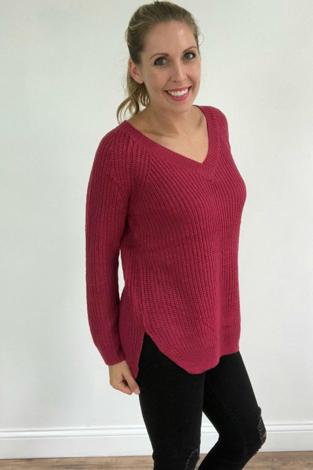 Dreamers Berry Knit Pullover - Front Full Image