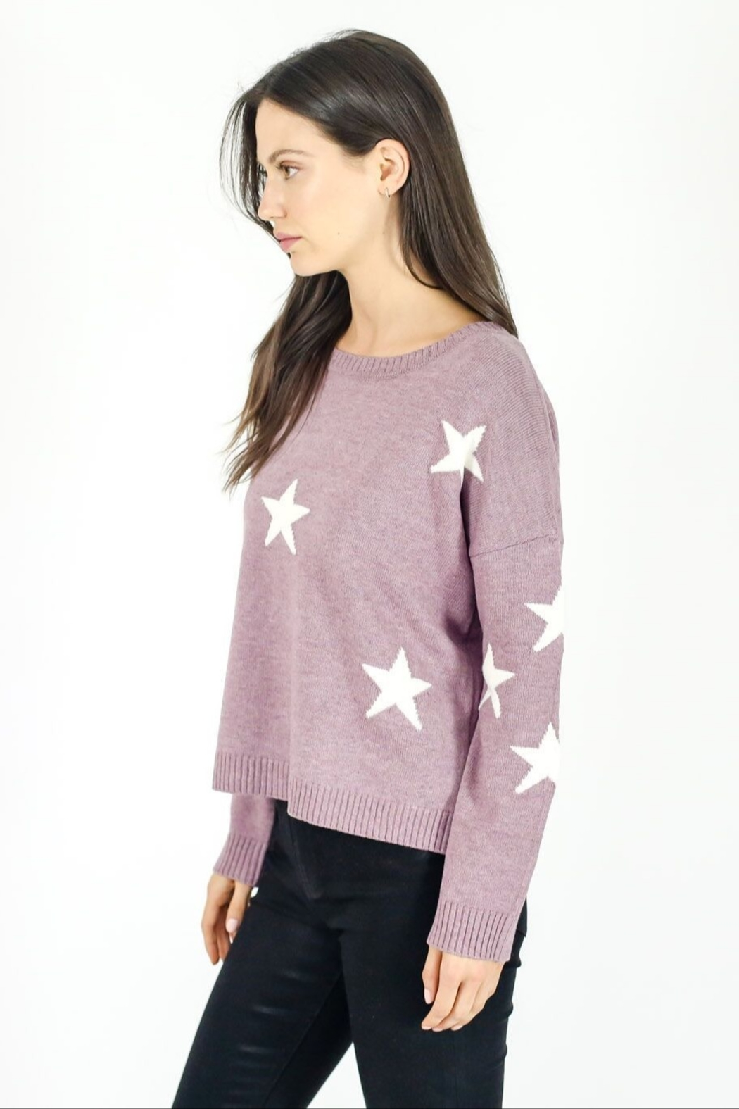 Six Fifty Berry Star Sweater - Front Full Image