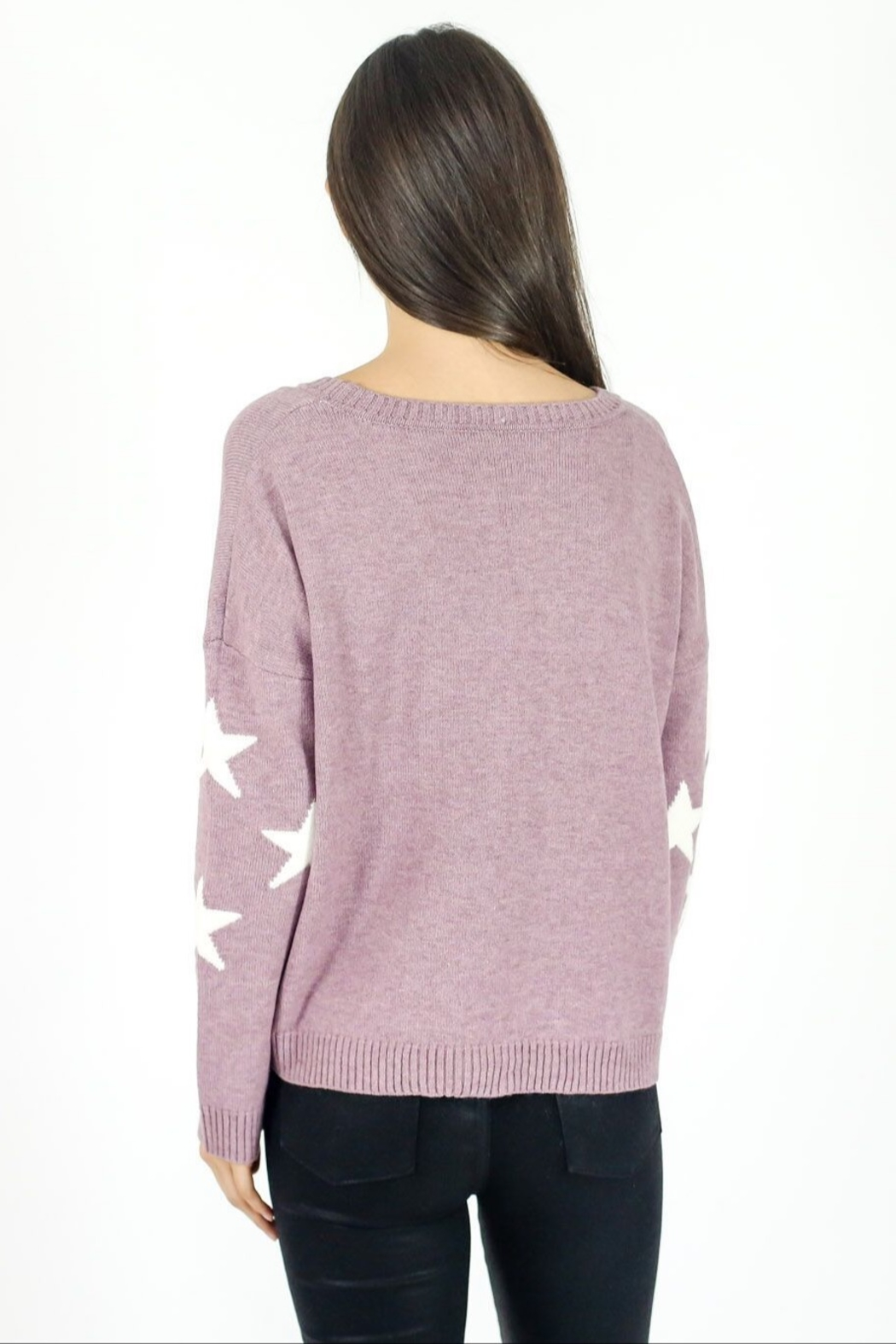 Six Fifty Berry Star Sweater - Side Cropped Image