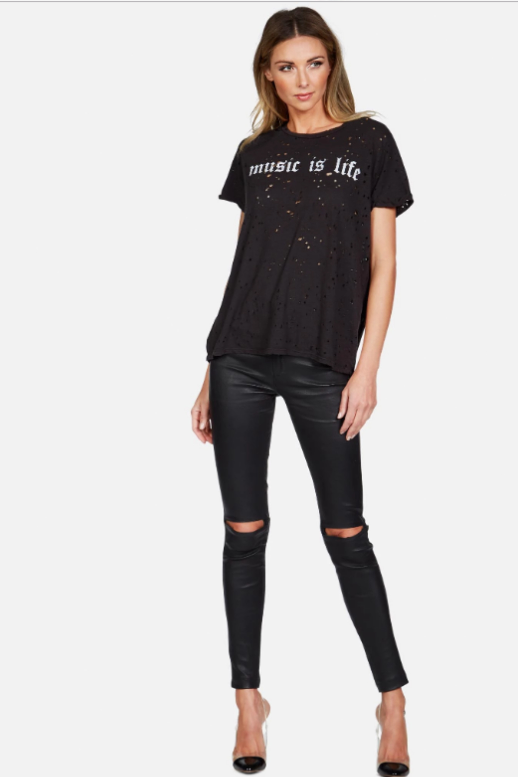 Lauren Moshi Bess Music is Life Tee - Side Cropped Image