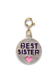 Charm It Best Sister Gold Glitter Charm - Front cropped