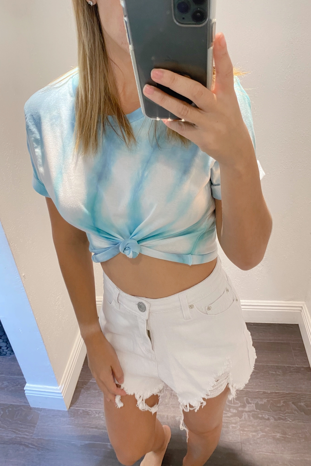 Blue Buttercup Frayed Denim Shorts - Front Cropped Image