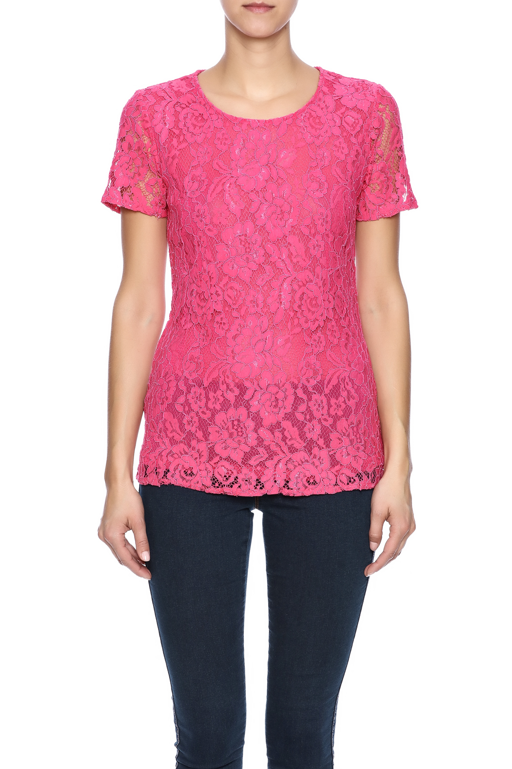 Betas Choice Pink Lace Top - Side Cropped Image