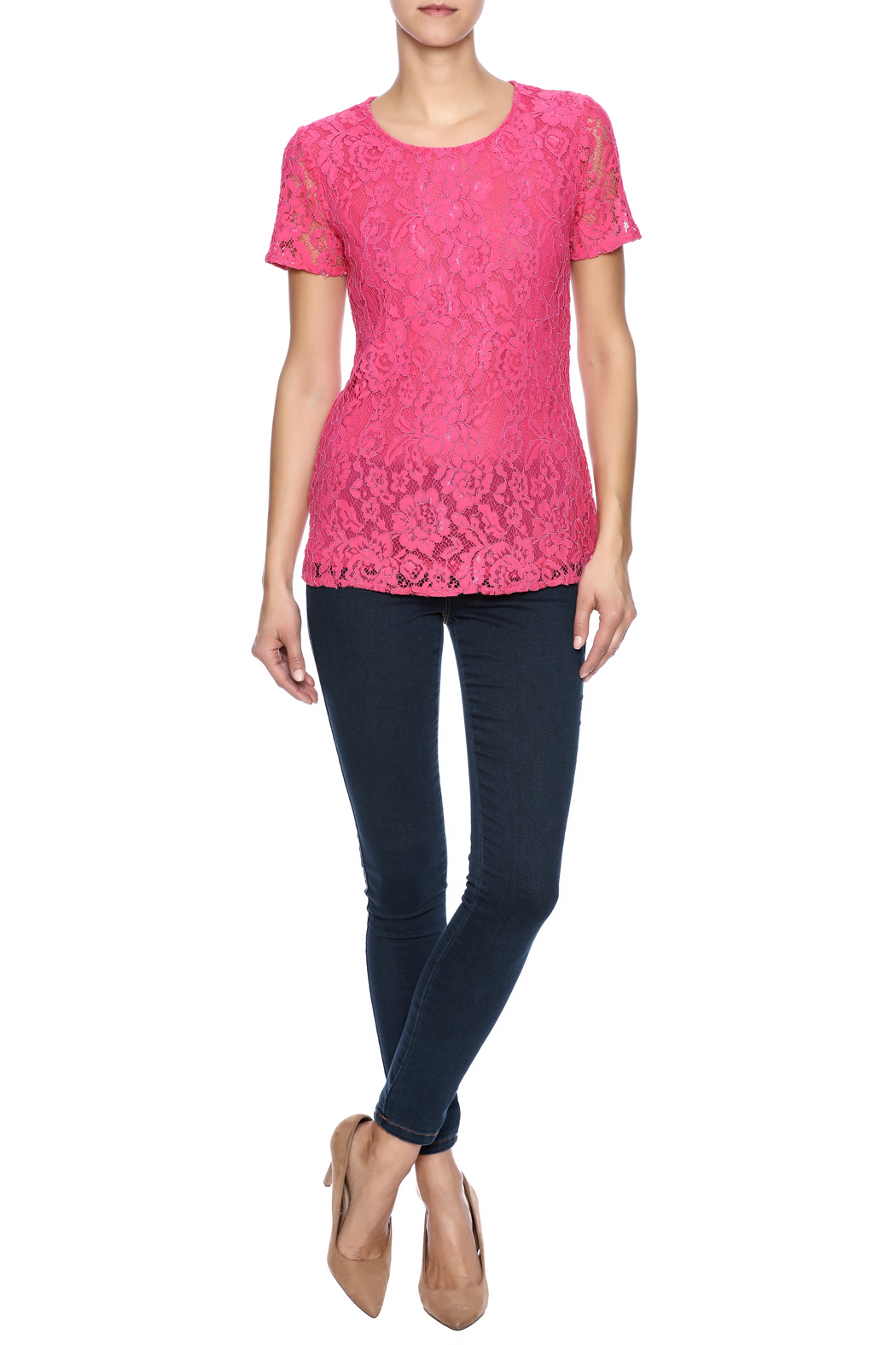 Betas Choice Pink Lace Top - Front Full Image
